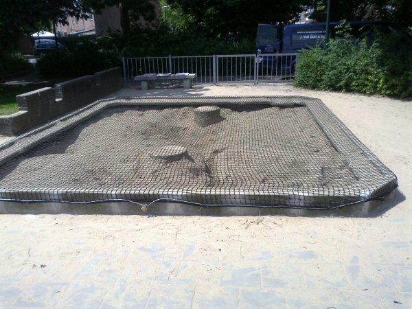 Zandbaknet impressie en voorbeeld